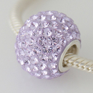 Charm 925 - 7 Row - Giant Crystals - Lavender Purple