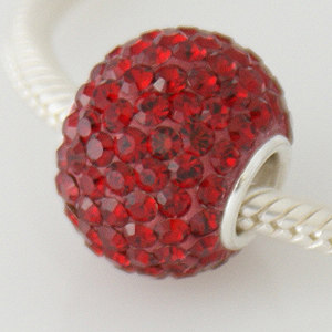 Charm 925 - 7 Row - Giant Crystals - Garnet Red