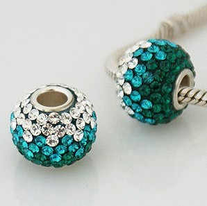 Charm 925 - 7 Row - Giant Crystals - Graduated Clear to Teal