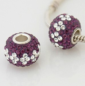 Charm 925 - 7 Row - Giant Crystals - Purple & Clear
