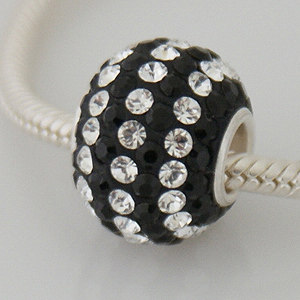 Charm 925 - 7 Row - Giant Crystals - Black & Clear Lines