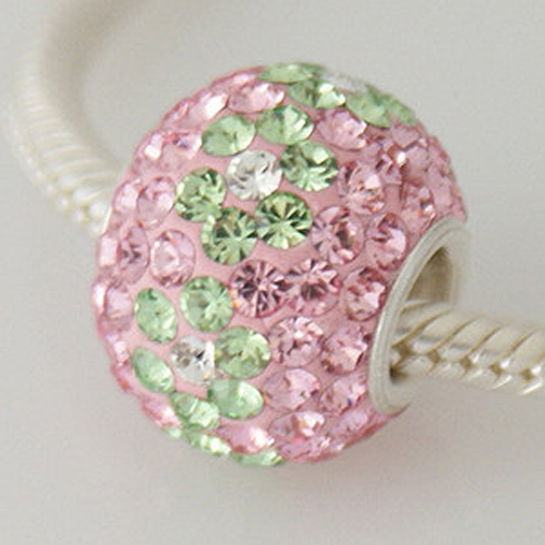 Charm 925 - 7 Row - Giant Crystals - Light Pink & Peridot Lime