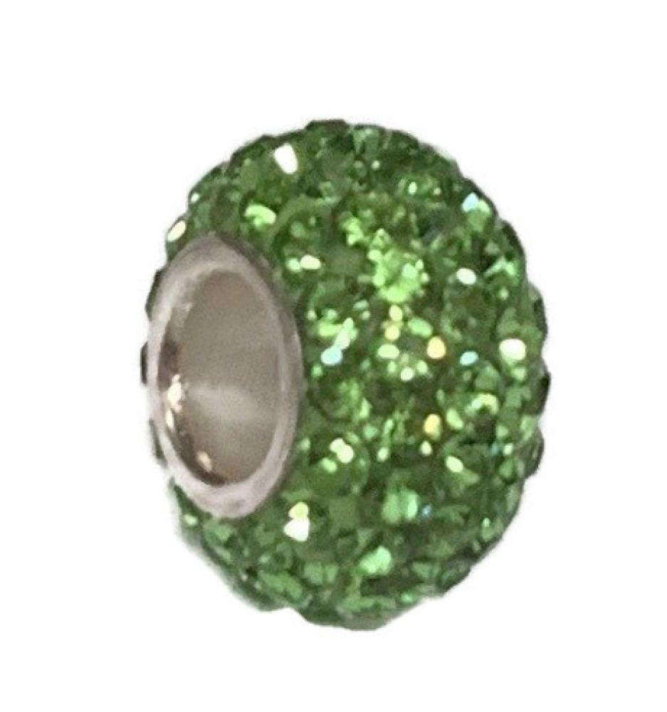 Silver Plated Core Crystal Charm Peridot Green