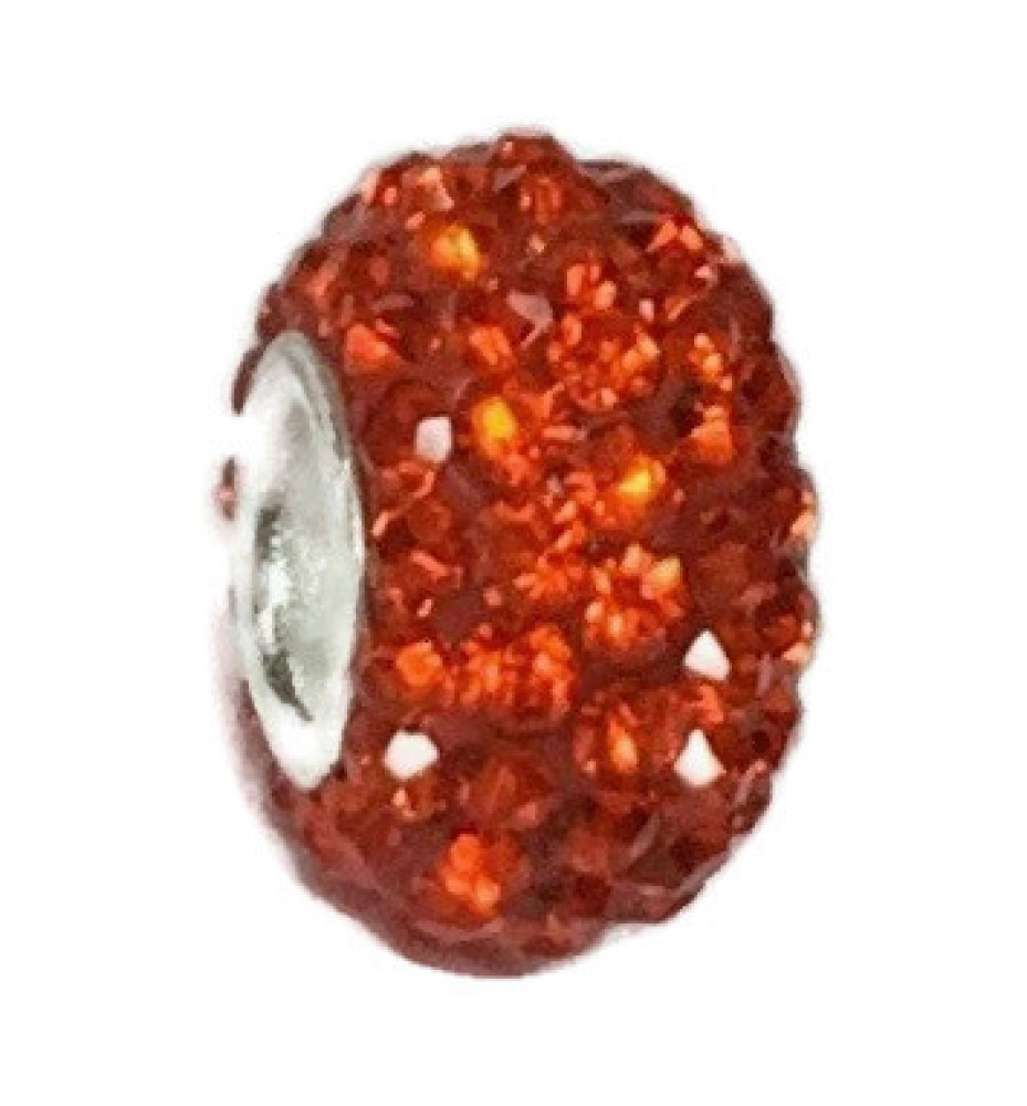 Silver Plated Core Crystal Charm Orange