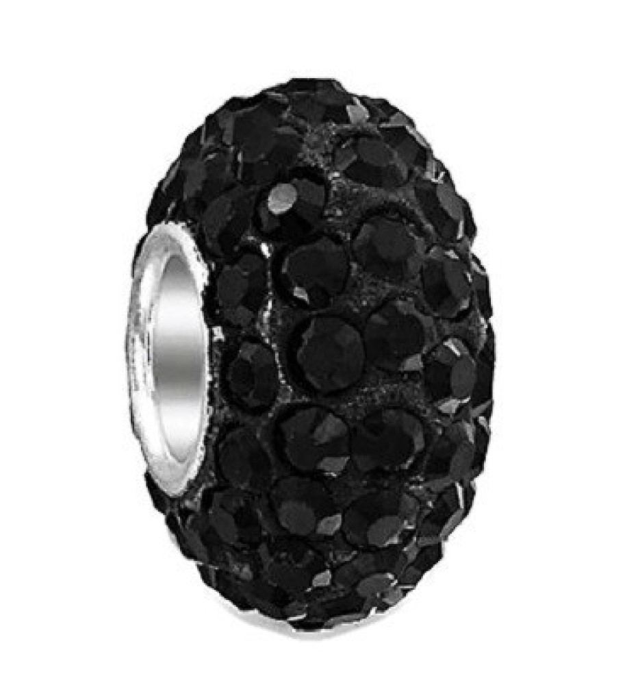 Silver Plated Core Crystal Charm Black