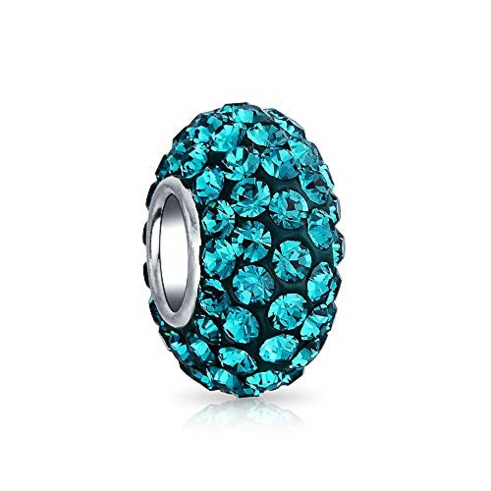 Silver Plated Core Crystal Charm Teal Blue