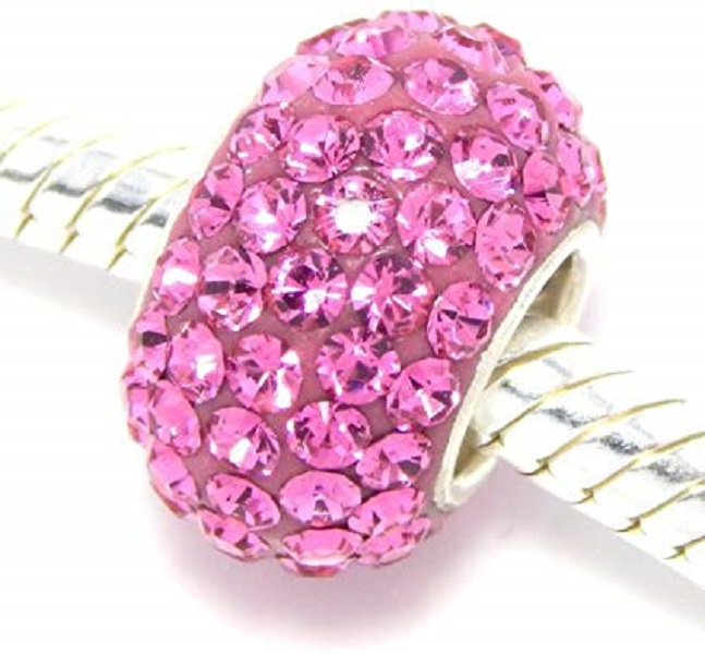 Silver Plated Core Crystal Charm Medium Pink