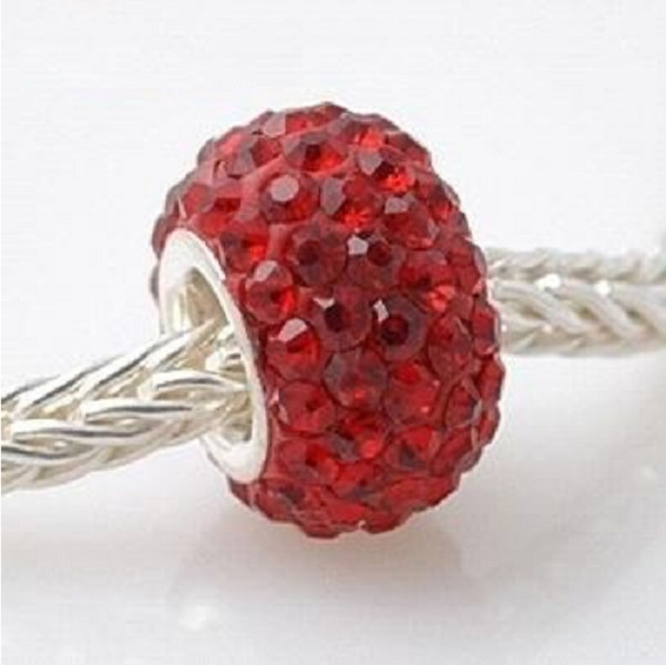 Silver Plated Core Crystal Charm Dark Red