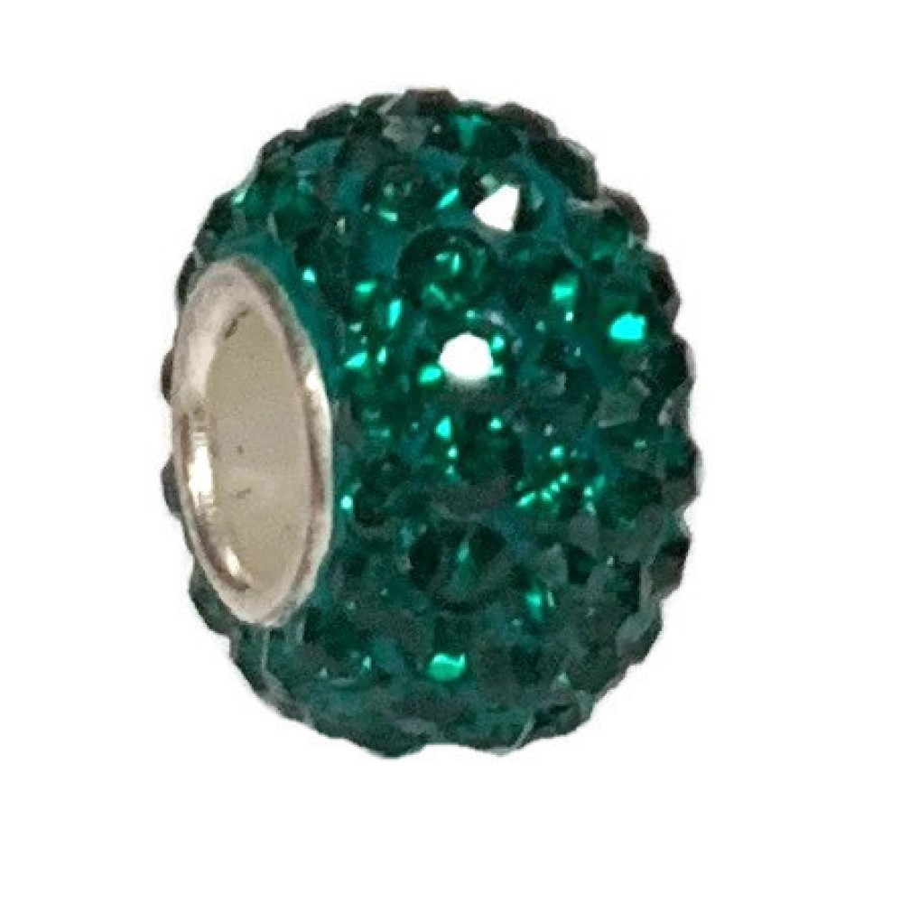 Silver Plated Core Crystal Charm Emerald Green