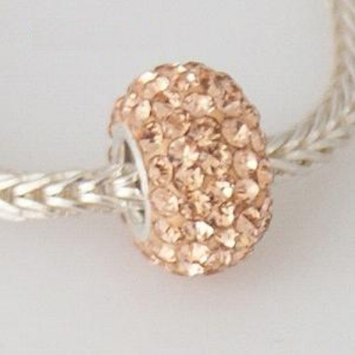 Silver Plated Core Crystal Charm Peach