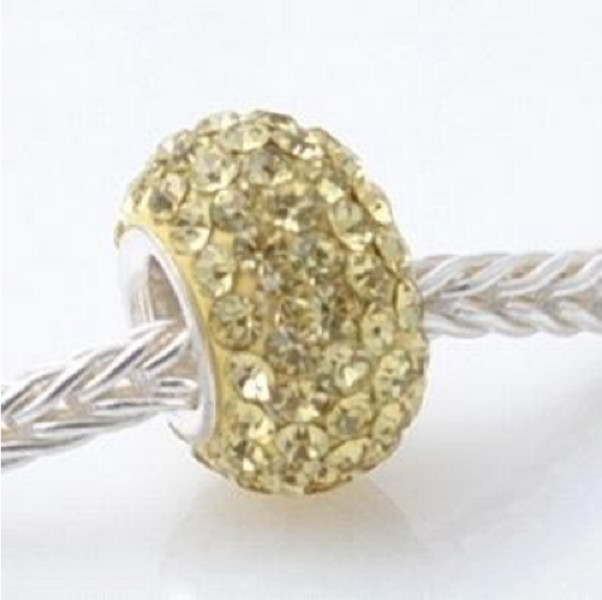 Silver Plated Core Crystal Charm Light Yellow