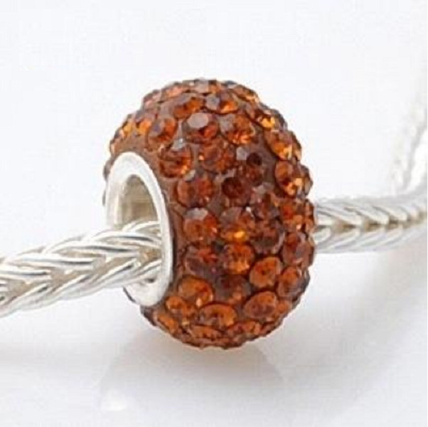 Fashion Core Crystal PandorCharm Light Brown