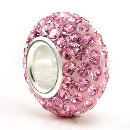 Silver Plated Core Crystal Charm Light Pink