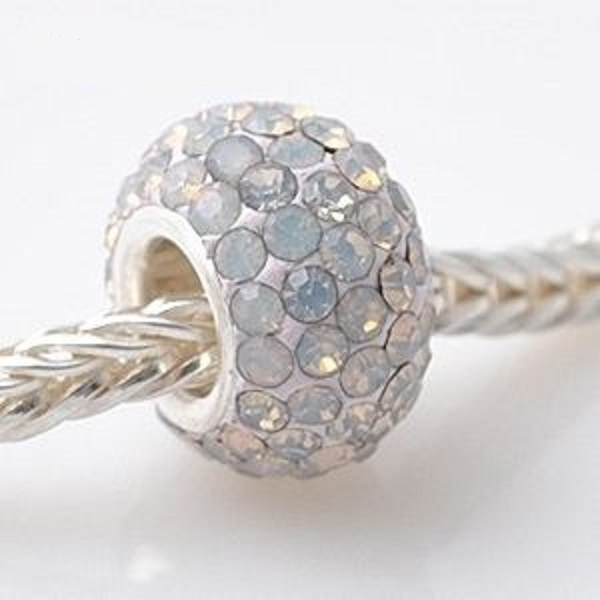 Silver Plated Core Crystal Charm AB Opal