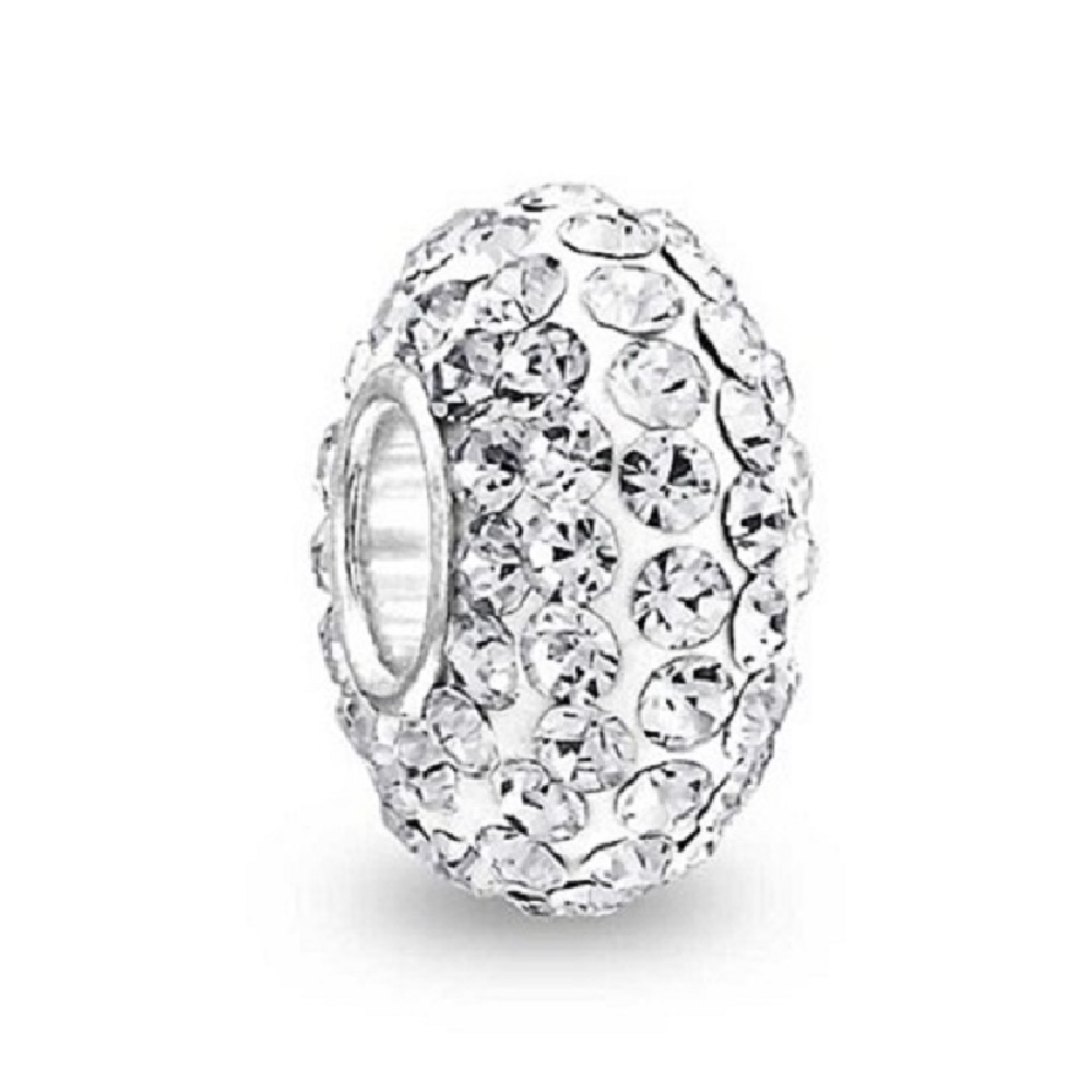 Silver Plated Core Crystal Charm Clear