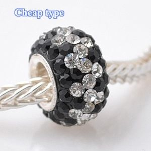 Fashion Core Crystal PandorCharm Clear ZigZag & Black