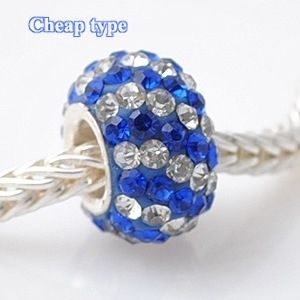 Fashion Core Crystal PandorCharm Clear & Blue Lines