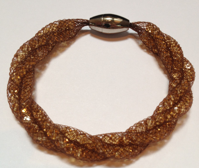 925 Mesh Crystal Magnet Bracelet - Brown