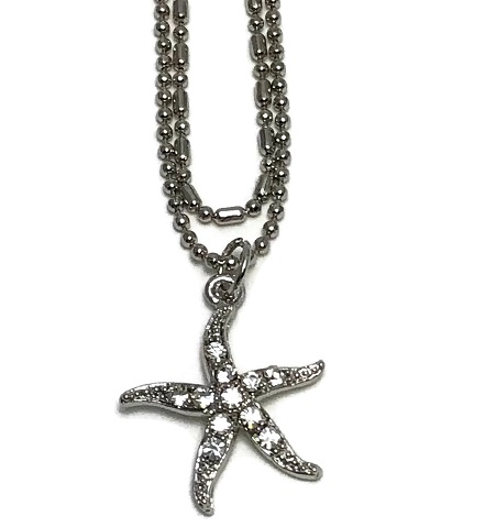 Starfish Anklet Double Chain - Clear