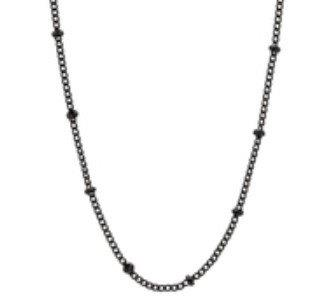 "Stainless Steel Ball Chain - Black 18"" + ext"
