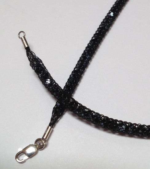 925 Mesh Crystal Lobster Necklace - Black