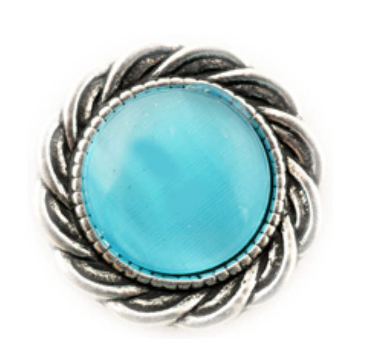 Snap Jewelry Cat's Eye Light Blue Scroll Halo