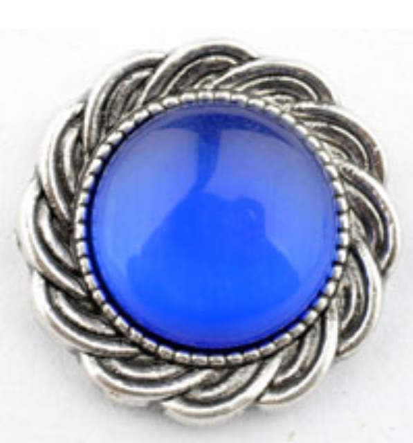 Snap Jewelry Cat's Eye Blue Scroll Halo