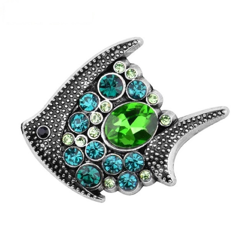 Snap Jewelry Rhinestone Fish