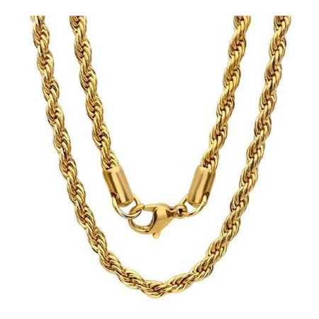 "Stainless Steel 2mm Rope Chain - 32"" Gold"