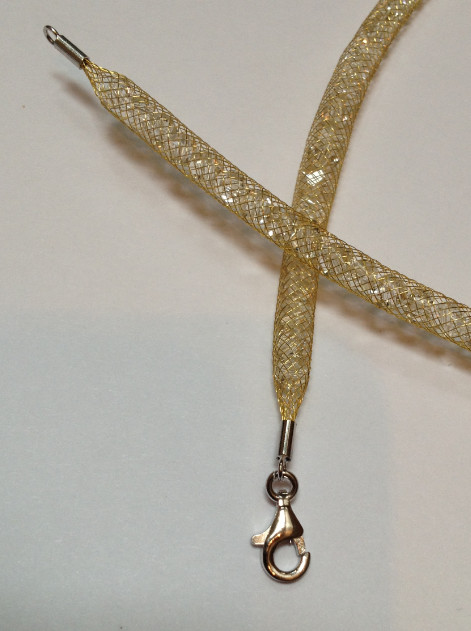 925 Mesh Crystal Lobster Necklace - Gold