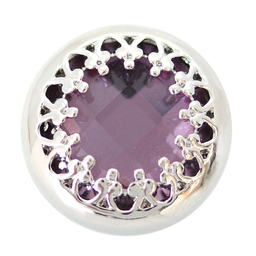 Snap Jewelry Rhinestone - Faceted Purple Silver Trim