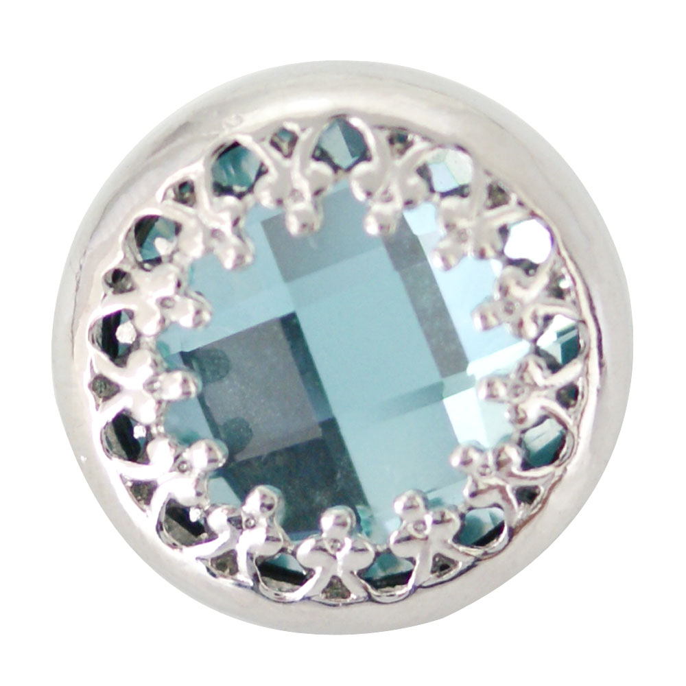 Snap Jewelry Rhinestone - Faceted Light Blue Silver Trim