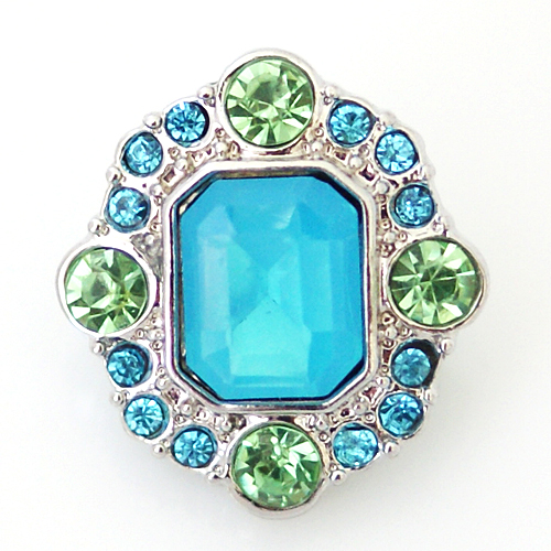 Snap Jewelry Rhinestone - Designer Faceted Light Blue & Peridot