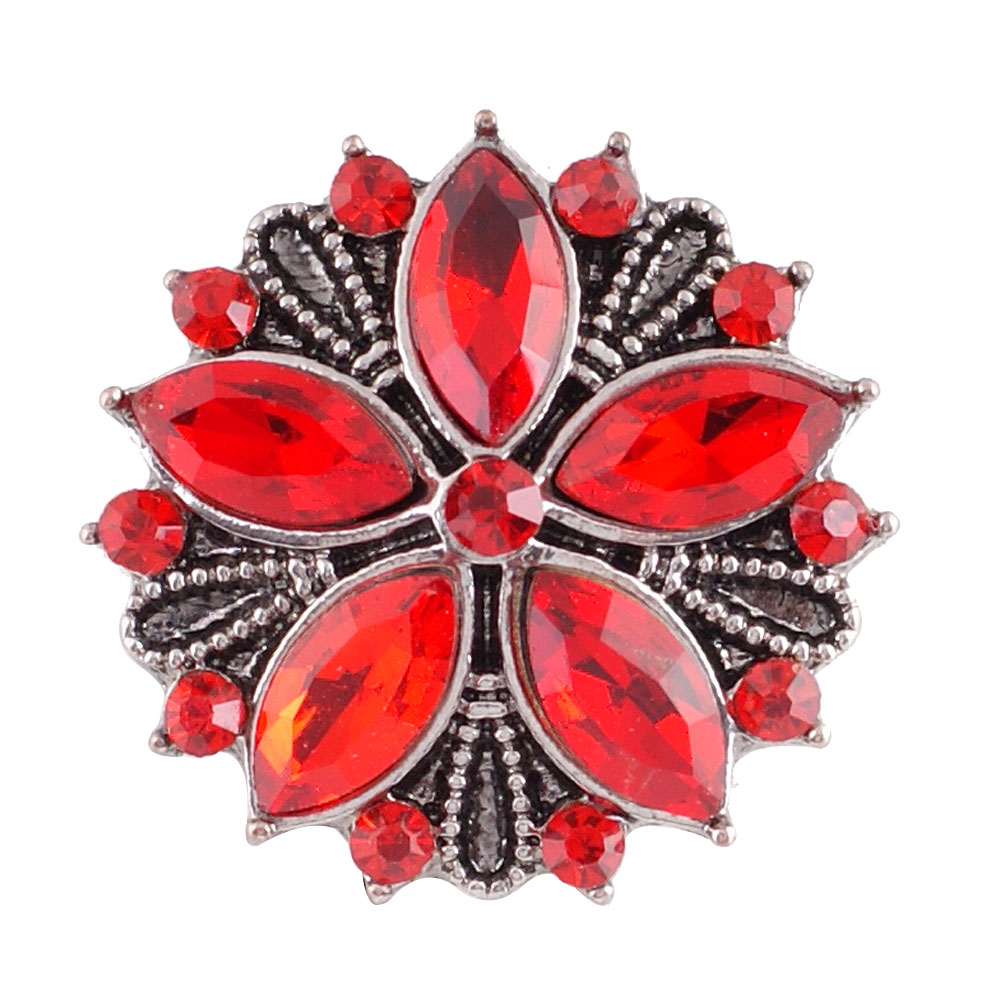 Snap Jewelry Rhinestone - Antique Designer Flower Red