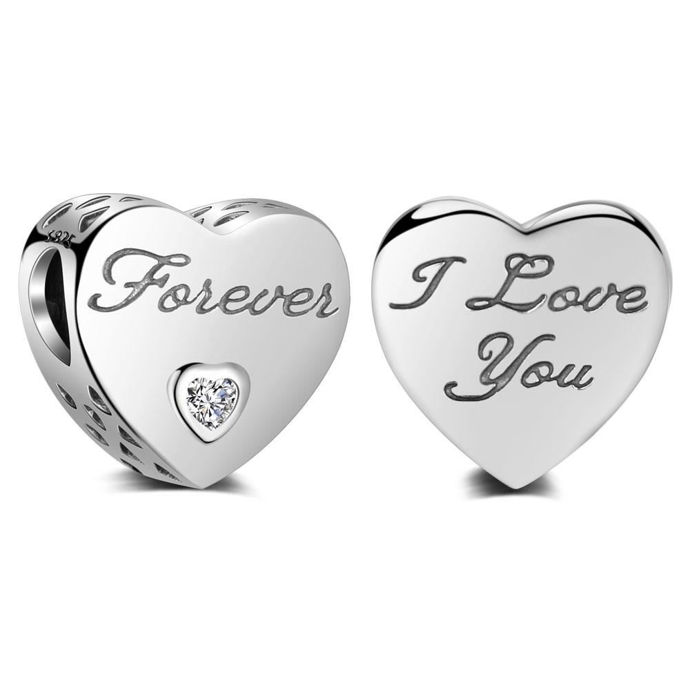 Charm 925- I love you, Forever CZ Heart