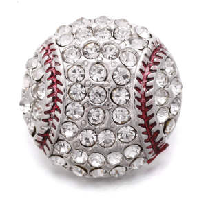 Snap Jewelry Rhinestone Sport Base Ball