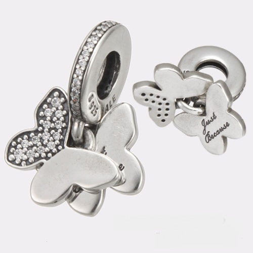 "Charm 925 - Dangle Butterflies ""Just Because"""
