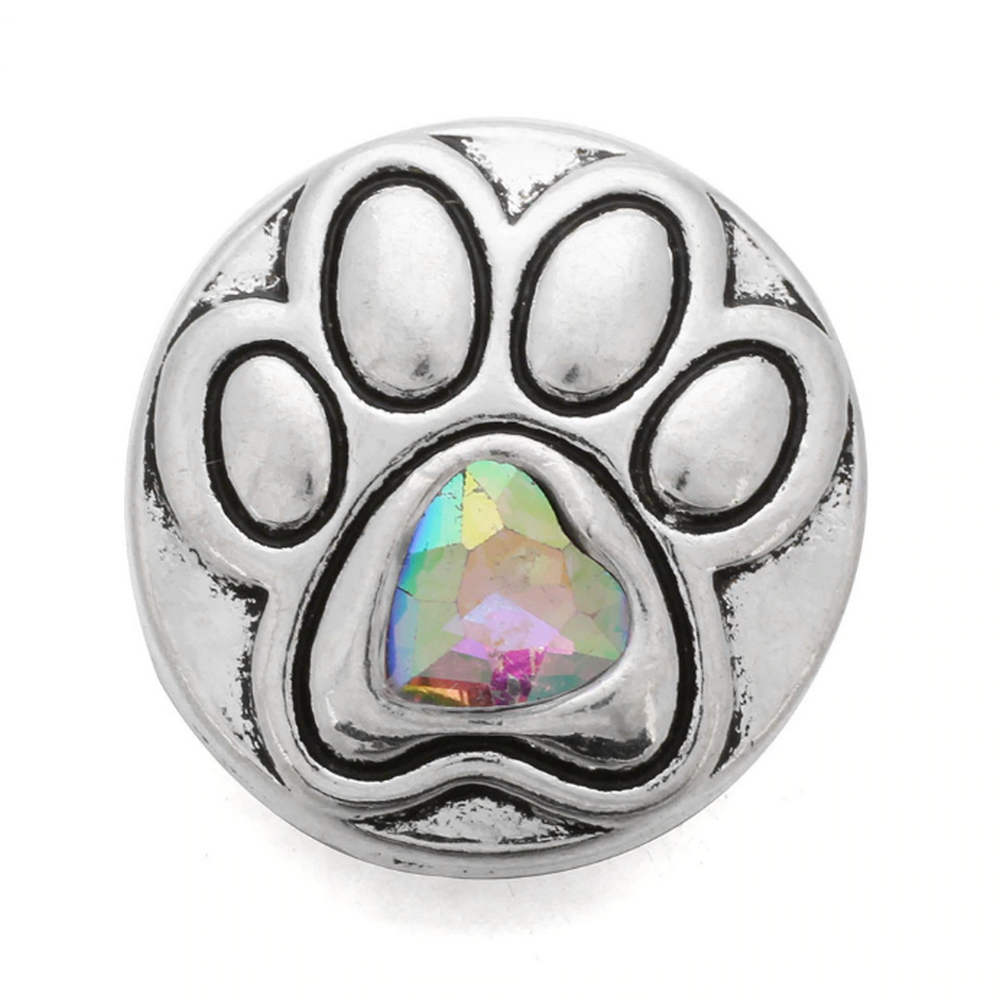 Snap Jewelry Metal - Dog Paw AB Heart