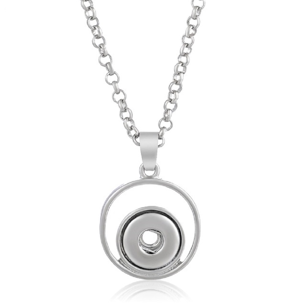 Mini Snap 12mm Stainless Steel Halo Ring Necklace