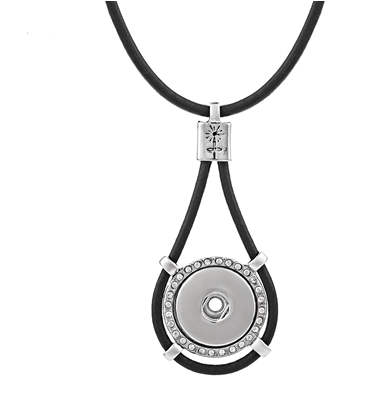 "Snap Jewelry Black Leather Necklace & Halo Pendant 18"" + 3"" Ext"