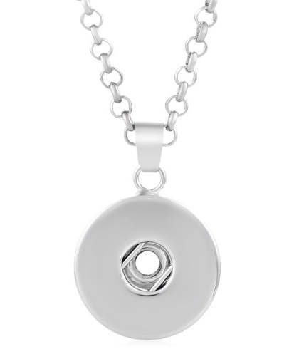 "Snap Stainless Steel Plain Pendant & Necklace 19.5"" + 2"" Ext."