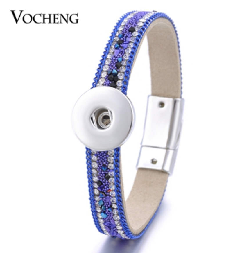 Snap Jewelry 18-20mm Magnetic Clasp 3 Row Rhinestone Blue 8""