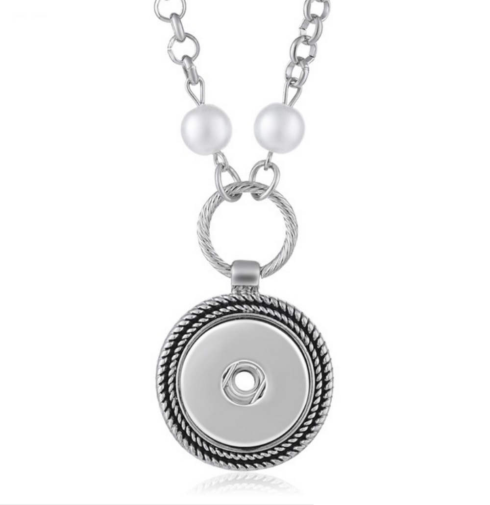 "Snap Jewelry Silver Plated Pearl Necklace 18"" + 3"" Extender"