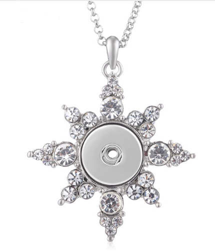 "Snap Stainless Steel Necklace & Snowflake Clear 19"" + 3"" Ext."