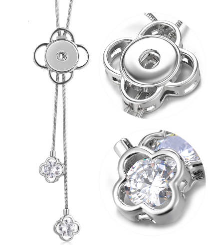 Snap Large CZ Lariat Stainless Steel Necklace & Flower Design 32