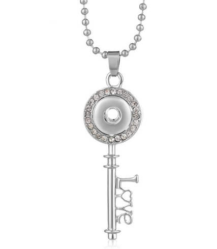 Mini 12mm Snap Key & Love Pendant & Ball Chain Necklace 32""