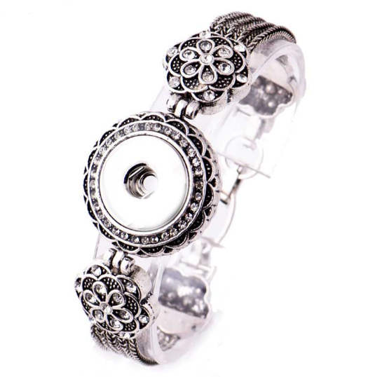 Snap Jewelry Toggle Bracelet Strand Marcasite Flower