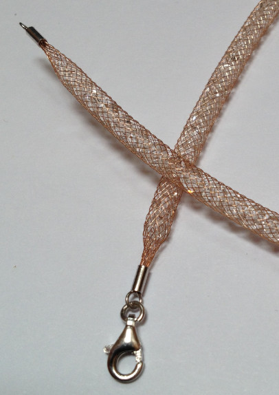 925 Mesh Crystal Lobster Necklace - Rose Gold