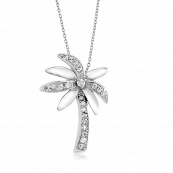 925 - Sterling - Palm Tree Clear CZ Pendant