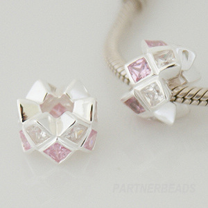 Charm 925 - CZ Stone - Staggard - Pink & Clear
